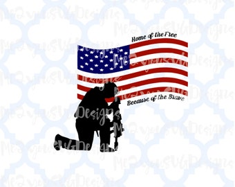 United States Flag and Solider SVG,EPS,PNG,Studio