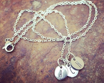 Tiny Hand Stamped Initial Necklace With Chain