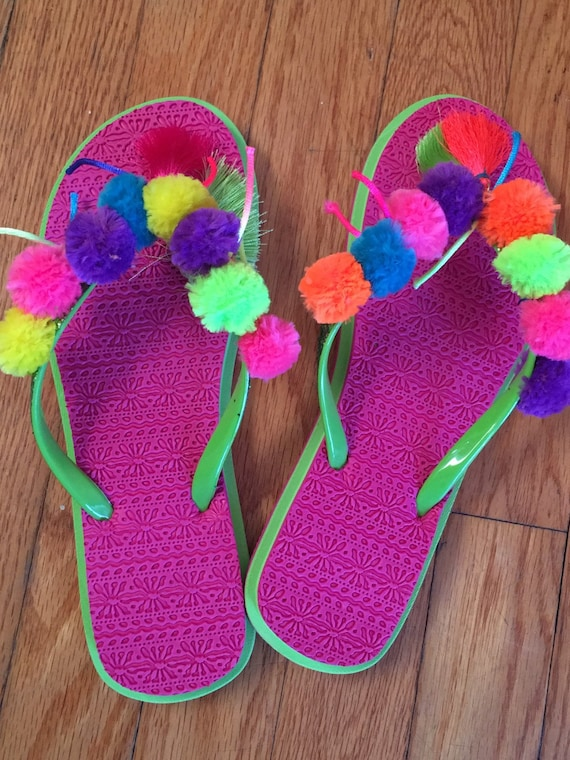 Custom Made Girls Pom Pom Flip Flops All Sizes by 8Mermaids