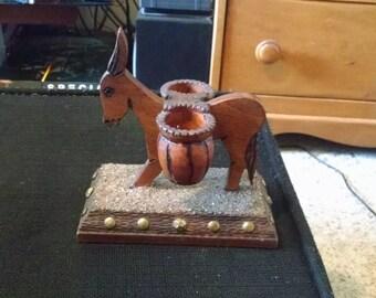 Vintage Wooden Donkey Double Candleholder Folk Art