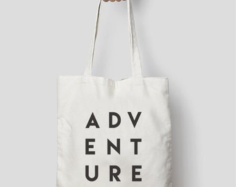 Adventure Typography Tote Bag Canvas or Black – Makes a Unique Gift for someone going travelling!