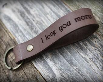 Personalized Custom Leather Keychain - I Love You More - Valentines Day Gift - Personalized Keychain - Latitude Longitude - Leather Key Fob