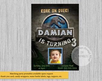 PRINTED or Digital Jurassic Park Birthday Invitations, Jurassic Park Party Supplies, Jurassic Park Printable Invitations, Dinasours