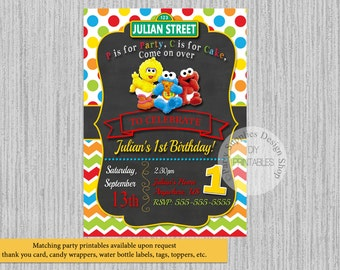 PRINTED or Digital Baby Sesame Street Birthday Invitations, Elmo Party Supplies, Sesame Street Printable Invitations, Elmo Party Invitations