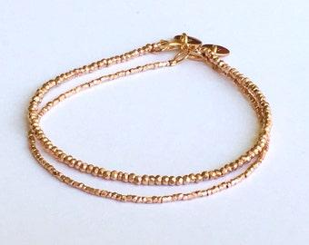 Rose Gold Vermeil Style Nugget Bracelet