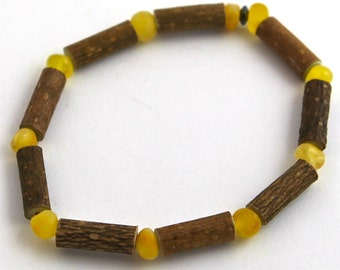 "7"" Hazelwood & Milk and Butter Baltic Amber Bracelet"