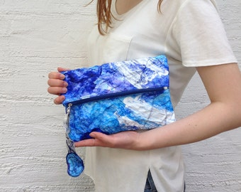 blue mini clutch/ tyvek/ unique bag