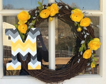 Grey and Yellow Monogram Wreath with Yellow Roses on Grapevine, Hand Painted