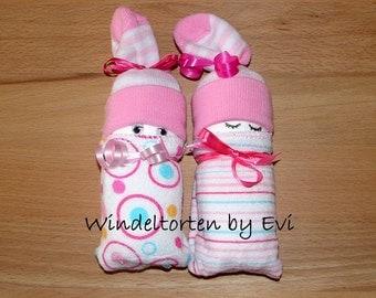 Diaper babies / Windelbabies for girls, baby gift birth
