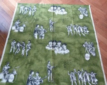 Rare Vintage BEATLES Fabric Material FREE SHIPPING Curtains Green Retro Stoomweveru Nuverheid Collectibles Upholstery 1960s Sixties