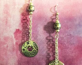 Silver Hieroglyphic earrings