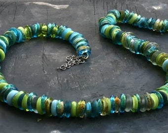 Morano hand made glass beads necklace, 22 karats gold, turquoise and green , sterling silver clasp, beautiful gift for her