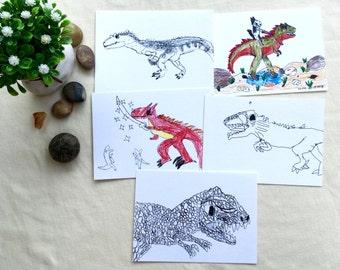 Dinosaur Postcards/ Set of 5/ Dinosaur Art Print, Whimsical Dino Postcards, from Original Drawing