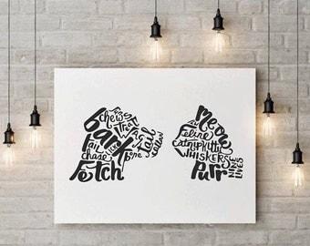 Cat Dog Print