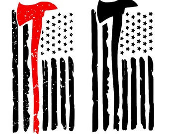 Fire Ax American Flag Cutting File, Studio 3, SVG, Silhouette Cameo, HTV, Personalized, Tshirt, Vinyl,  525 Applied Designs