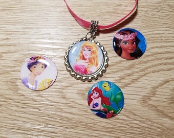 10 Pink Necklaces Party Favors. Moana, Sleeping Beauty, Mulan, Ariel