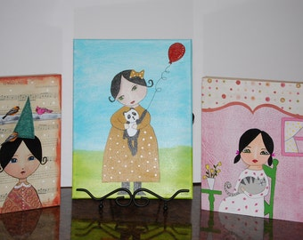 Folk art paintings, Clementine and friends