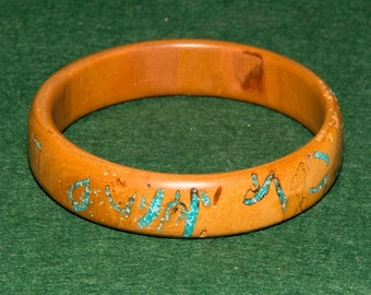 Wooden Bangle, Cherry, with Turquoise inlay no. 69