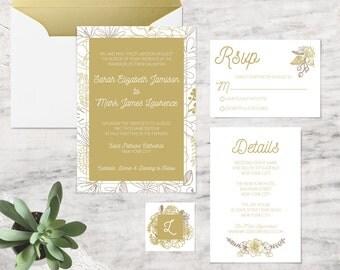 Printable Wedding Invitations, Gold Wedding Invitation Template - INSTANT DOWNLOAD