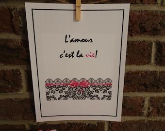 L'amour c'est la vie!  Phrase inspirante, affiche imprimable, imprimable art, décoration maison, salon, rose, noir