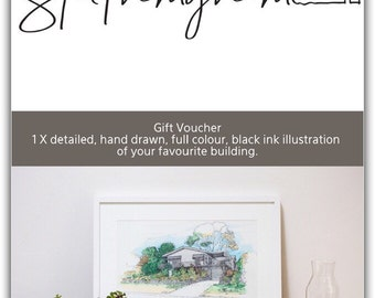Gift voucher for 1 x detailed, full colour, hand drawn, black ink illustration of your favourite building.