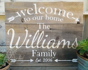Personalized Family Sign, Welcome To Our Home Sign, Established Sign, Custom Family Sign, Family Wall Decor, Wedding Decor, Custom Sign
