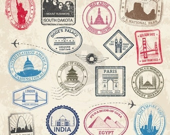 Landmark Stamps Clipart,travel stamps clipart,passport ctamps clipart,stamps clipart,digital download