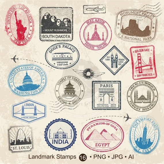 Landmark Stamps Clipart,travel stamps clipart,passport ...
