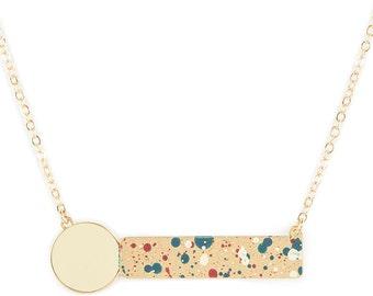 Alphabeta Pollock geometric necklace gold plated drippe