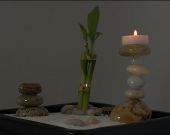 """Zen Garden with Living Lucky Bamboo and Cairn. One-of-a-kind! 5 of 60 in the """"Biophilia"""" series. Rock Garden Feng Shui"""