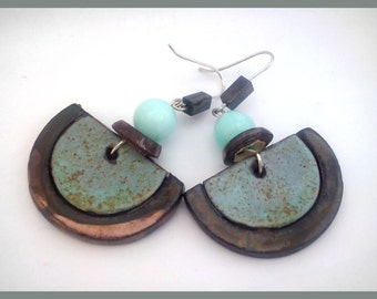 Ceramic Dangle Earrings with Jadeite and Hematite
