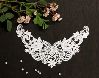 Lace Collar, Appliques, Floral Collar applique, Bridal appliques, Headbands, Sashes, Costumes, Women Dresses, flower girl dress (LC10032)
