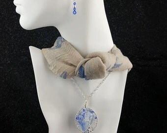 Tree of Life, Wire Wrapped, Glass Necklace & Earrings Set, Blue, White