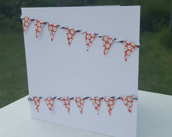 Handmade greetings card with bunting embellishment