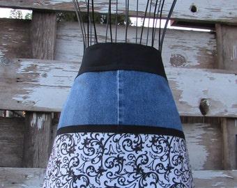 Denim and cotton apron
