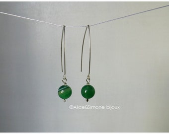 Earrings silver ears, green Agate beads and Swarovski beads / handcrafted