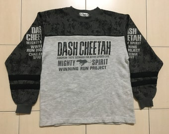 Vintage 90's Dash Cheetah Sport Classic Design Skate Sweat Shirt Sweater Varsity Jacket Size S #A526