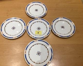 5x Pembroke Patterned Plates-cira-1900S - Imperial Porcelain -Wedgwood England