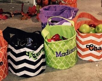 Monogrammed Halloween buckets / Monogrammed Trick or Treat Bag / Halloween bag / Candy Bag