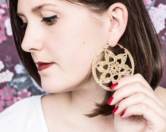 Golden Flower Croche Earrings