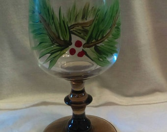 Holly & Berries Goblet or Candle Holder