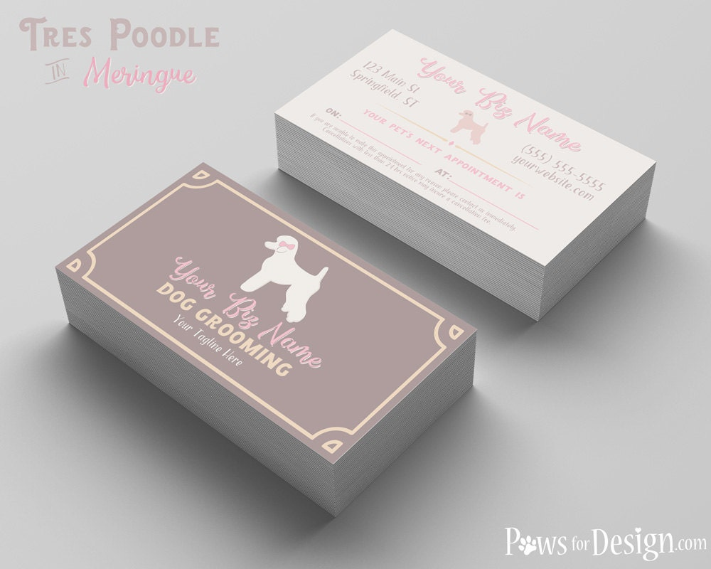Premade pet groomer business card tres poodle dog grooming for Pet grooming business cards