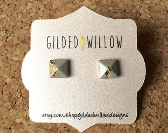 Gold or Silver Leaf Cement Square Studs