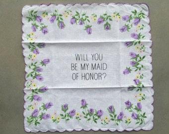 Vintage Maid of Honor Handkerchief