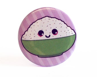 Cute 38mm 1.5 Inch Rice Bowl Badge