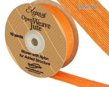 Full Roll Open Weave Jute Ribbon x 10yds - Orange - Crafts, Vintage Wedding, Gifts, Bows