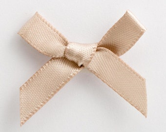 Satin Ribbon Pre Tied 3cm Bows - 100 Pack - Taupe
