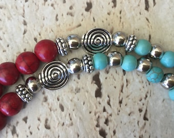 Turquoise, Coral, Howlite & Prayer Box Necklace