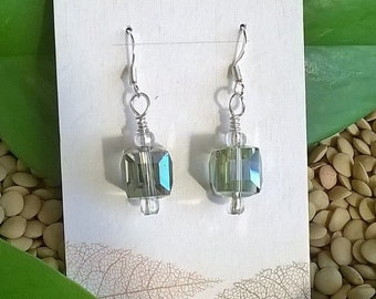 Multi-Faceted AB Crystal Cube Earrings, Rainbow Crystal Jewelry, Aurora Borealis Earrings, Joy Funky Earrings, Summer Jewelry, Beachy