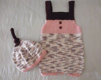 Combishort and hat baby girl size 3 months